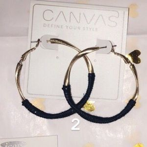 Jewelry - Gold Navy Thread Wrapped Hoops